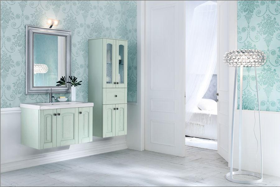 Eine romantische Badgestaltung in zarten Farbtönen.