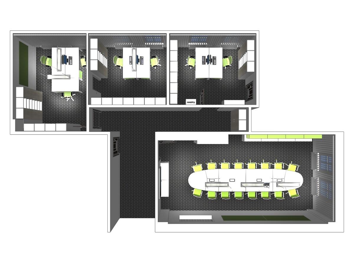 Büroplanung im Obergeschoss in Draufsicht. Verplante Objekte maßgefertigte Einbauschränke und Schreibtische, drehbare Komfortbürostühle, Beleuchtung, Lamellenvorhängen und Teppichfußboden.
