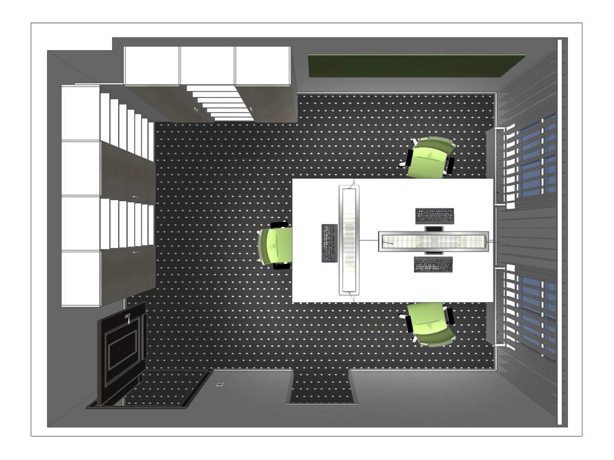 Büroentwurf im Dachgeschoß in Draufsicht. Verplante Objekte passgenaue Einbauschränke, Teppichfußboden, drehbare Schreibtischstühle, Schreibtische, Magnettafel, Pendelleuchten und Lamellenvorhänge.