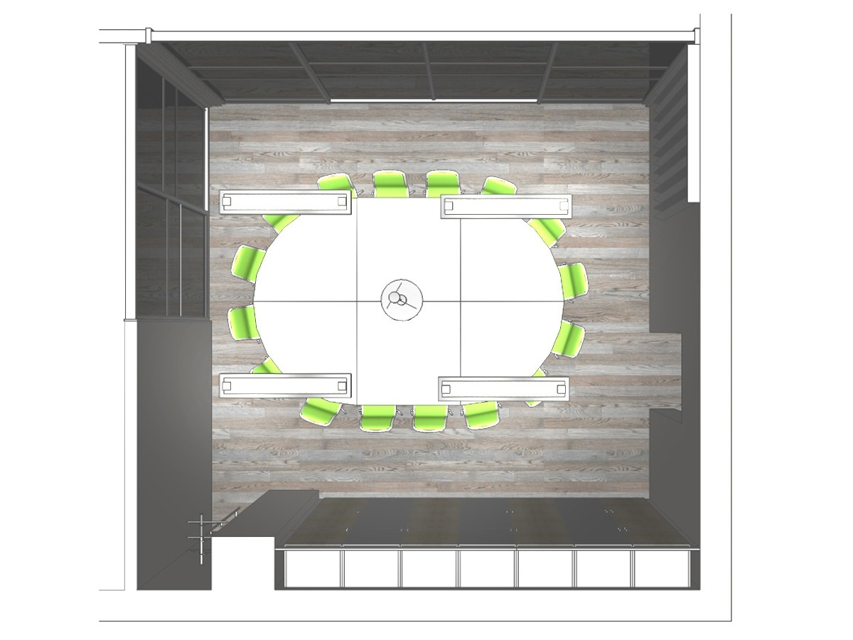 Bürovisualisierung im Bürogebäude im Obergeschoss in Draufsicht. Verplante Objekte ovaler Konferenztisch mit 16 Bürostühlen, Deckenleuchten, Pendelleuchte, Glasschiebetüren inkl. Logo, Garderobe und Einbauschrank.
