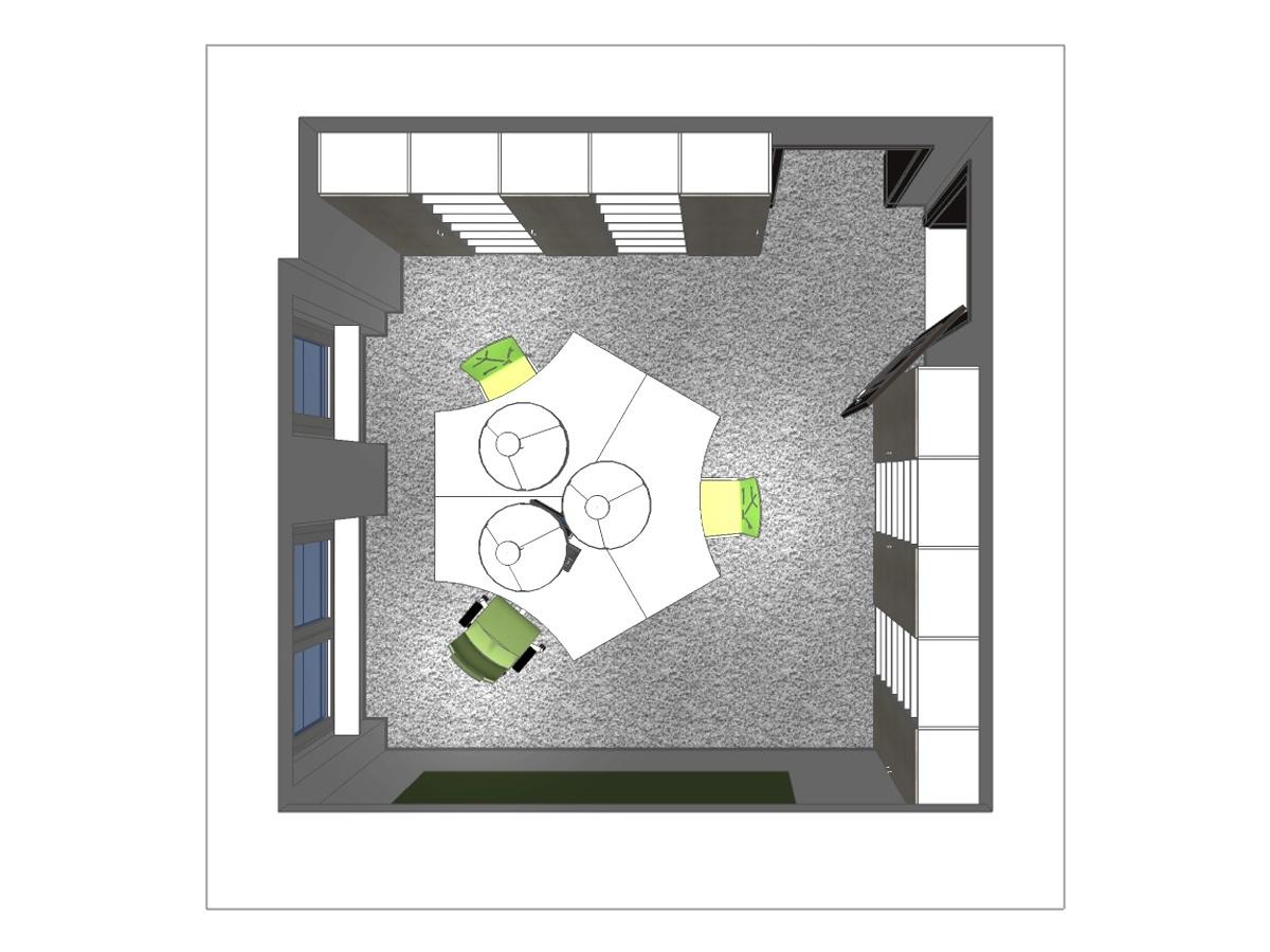 Bürodarstellung im Dachgeschoß in Draufsicht. Verplante Objekte maßgefertigte Büroschränke, Teppichfußboden, drei 5-eckige Schreibtische kombiniert zu einem großen mit 3 Arbeitspläten, Chefsessel mit Rollen, zwei Freischwingerstühle, und drei Pendelleuchten.
