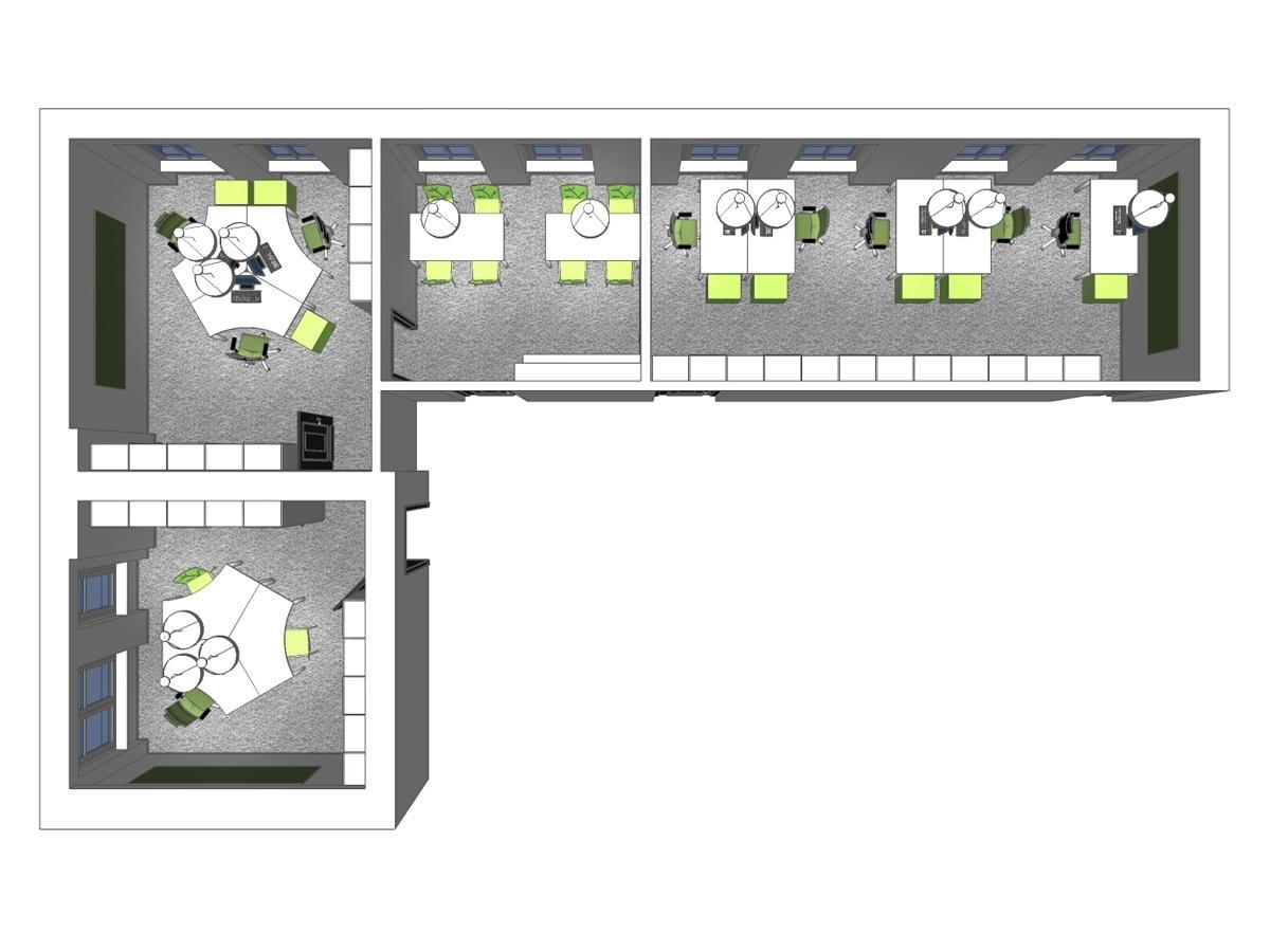 Büroplanung für ein Großraumbüro im Obergeschoss in Draufsicht. Verplante Objekte maßgefertigte Büroschränke, Teppichfußboden, Schreibtische, Chefsessel mit Rollen, Schwingstühle, Pendelleuchten, Magnettafeln und Rollcontainern.