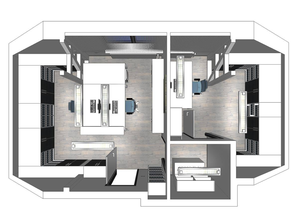Büroplanung eines Steuerbüros im Dachgeschoss in Draufsicht. Verplante Objekte Einbauschränke mit Hängeregistraturen, Schreibtische mit Bürostühlen, Deckenleuchten, Rollcontainern, Regalen und Lamellenvorhänge.