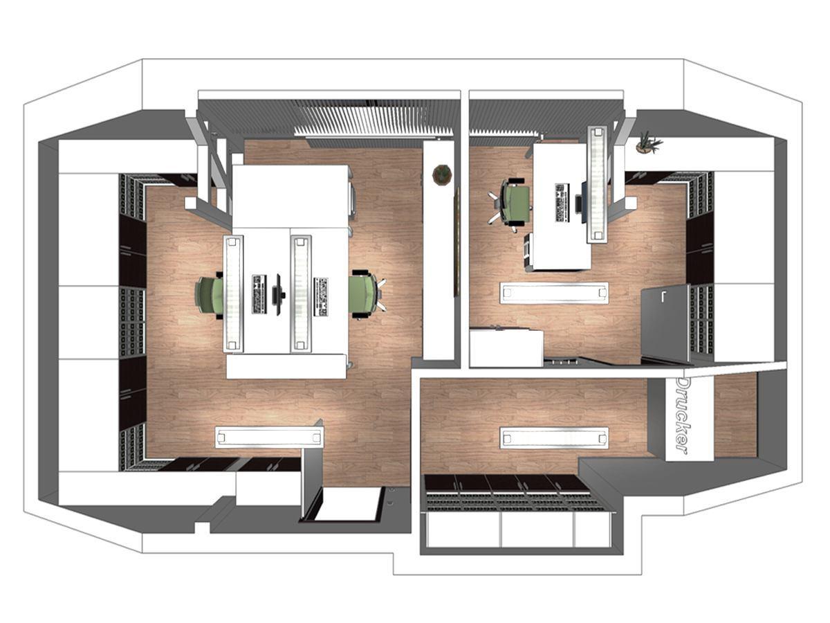Bürogestaltung im Dachgeschoss in Draufsicht. Verplante Objekte Einbauschränke mit Hängeregistraturen, Schreibtische mit Bürostühlen, Deckenleuchten, Rollcontainern, Regalen und Lamellenvorhänge.