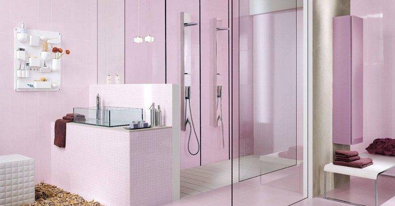 Ein modernes Bad in frischem Lila