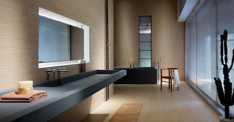 Moderne Badgestaltung mit einem Waschtisch aus Schiefer