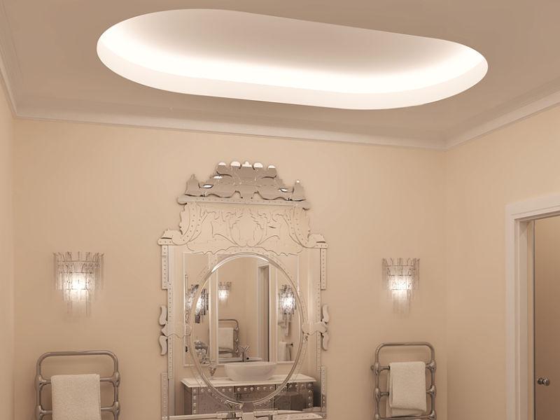 Eine abgehangene und hinterleuchtete Zimmerdecke ist eine ansprechende Idee ein Bad schön zu gestalten.