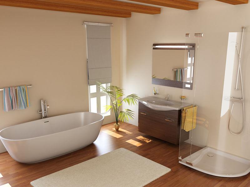 Innenausbau eines Bades im modernen Stil