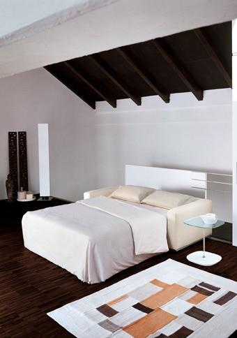 Klassisches Design Schlafsofa mit Stoffbezug in Weiß