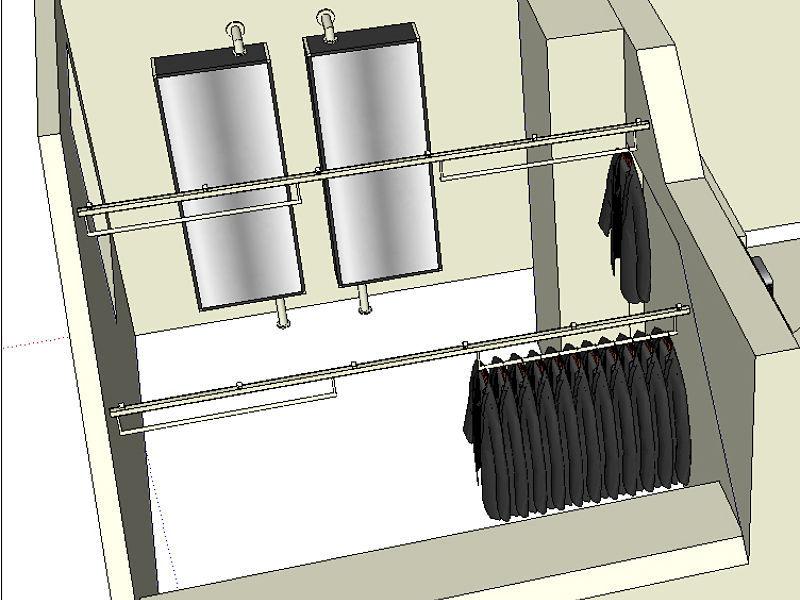 Eine 3-D-Planung zur Nutzung des Kleidergleiters im Ankleidezimmer
