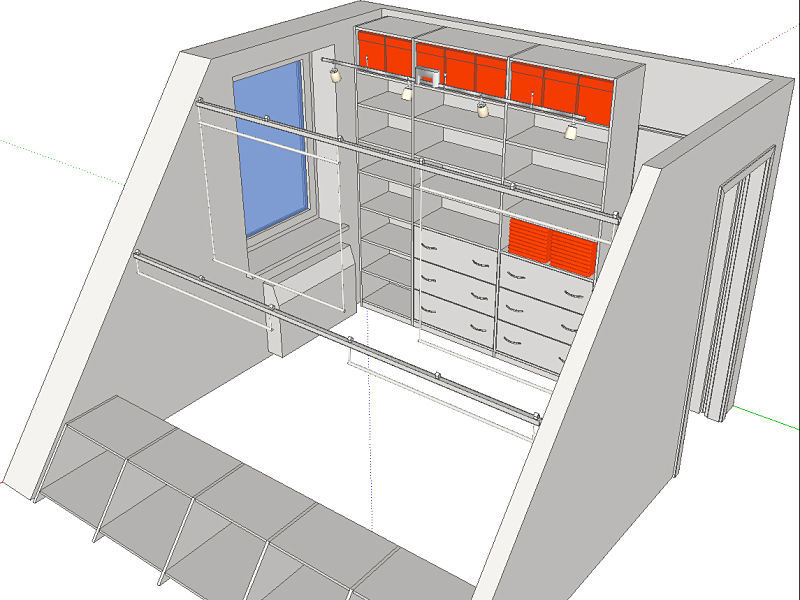 Hier eine Planung eines Kleidergleiters im Ankleidezimmer