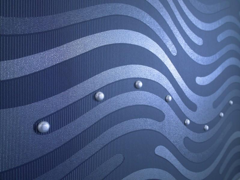 Designtapete - Detail Wellenoptik mit Perlen verziert