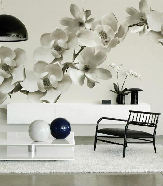 Motivtapeten – Blume in Schwarz/Weiß