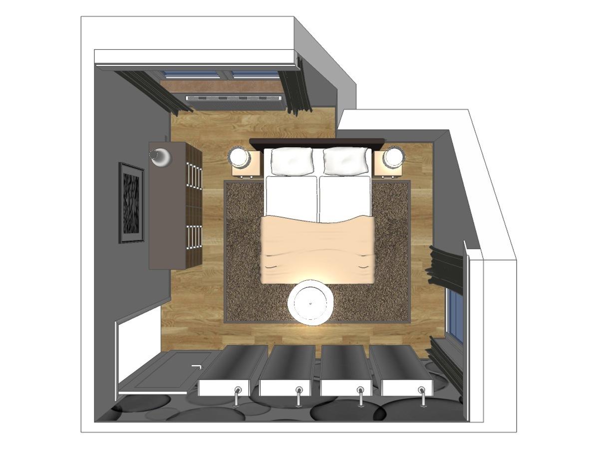 Schlafzimmerplanung für ein Schlafzimmer in einem Einfamilienhaus im Dachgeschoss. Verplante Objekte Schubladenkommode, Gardinen mit Verdunklungsschals, Boxspringbett mit Nachttische, hochflorigen Teppich, Deckenlampe, Designer-Motivtapete und drehbaren Wandschränke mit Spiegeltüren.