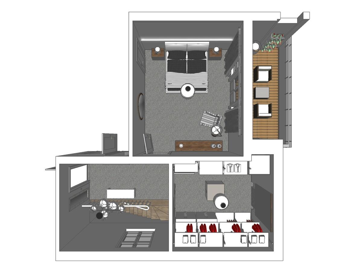 Schlafzimmergestaltung eines Zweifamilienhaus in Draufsicht. Verplante Objekte im Schlafzimmer runder Wandspiegel, indirekte Beleuchtung, italienisches Lederbett, Nachttische, Sessel, Stehleuchte, Deckenlampe, Sideboard, Gardinenanlage mit Verdungklungsschals. In der Ankleider offenes Einbauregalsystem, Deckenleuchte, Plissee und Hocker.