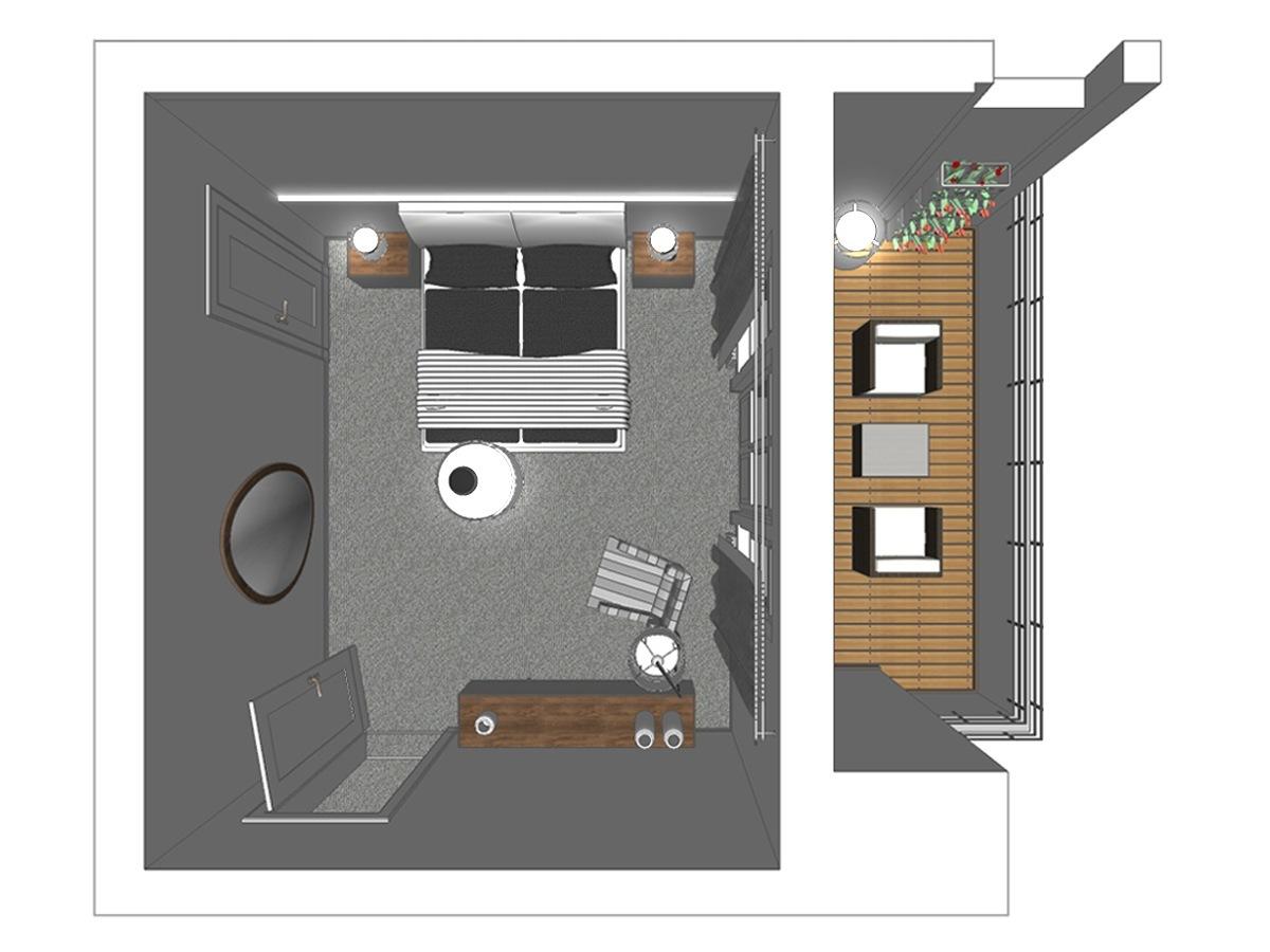 Schlafzimmerdarstellung eines Reihenhaus in Draufsicht. Verplante Objekte ovalen Wandspiegel, indirekte Beleuchtung, Polsterbett, Nachttische mit Tischleuchten, Gardinenanlage mit Verdunklungsschals, Polstersessel, Stehleuchte und Sideboard.