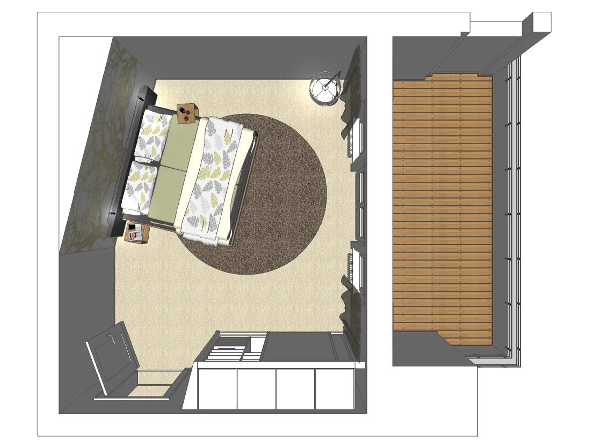 Schlafzimmerentwurf für eine Eigentumswohnung in Draufsicht. Verplante Objekte Komfortbett mit Lederkopfteil, Beistelltische, Stehleuchte, Fotodrucktapete, Einbauschrank mit Schiebetüranlage und Gardinenanlage mit Dekoschals.