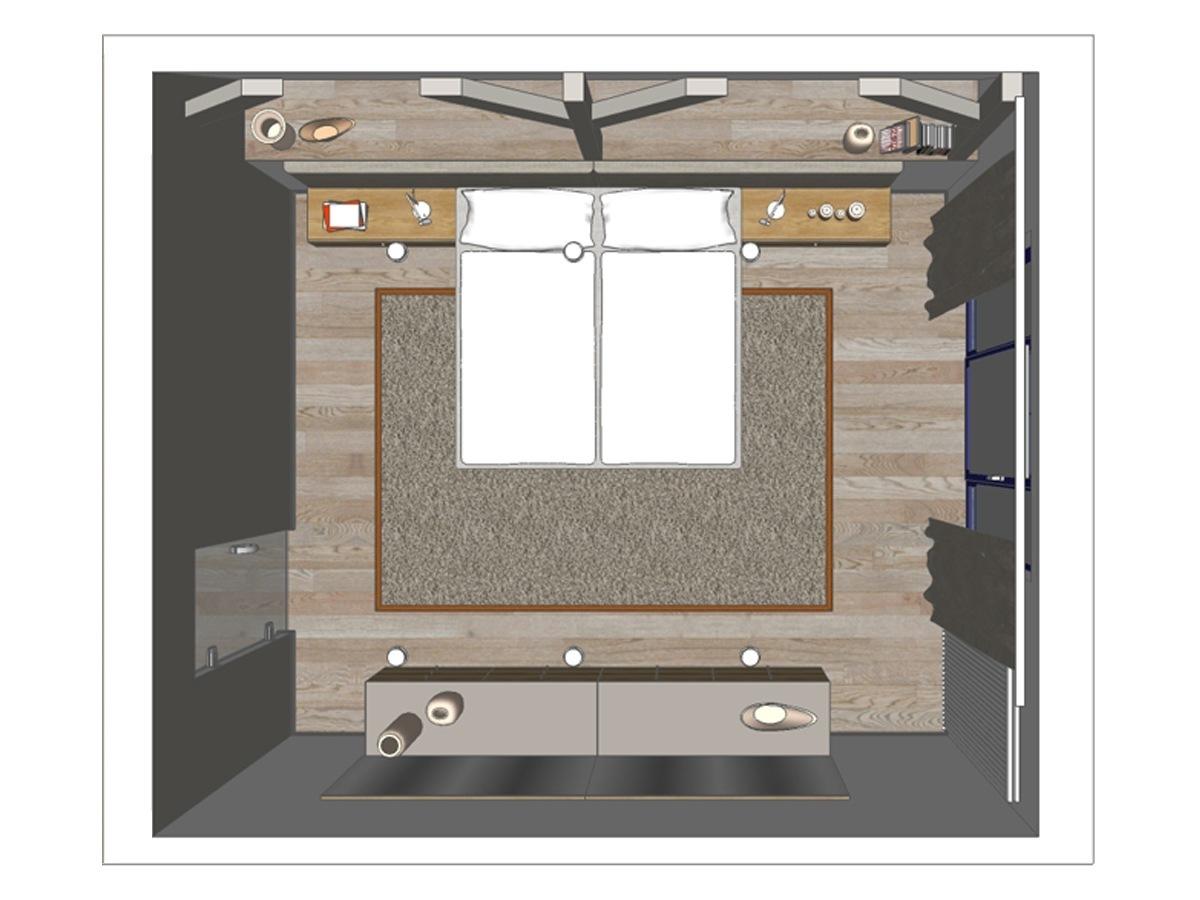 Schlafzimmervisualisierung für ein Wohngeschoß in Draufsicht. Verplante Objekte maßgefertigtes Doppelbett mit Hängenachttischen, Auflageteppich, Holzfußboden, Plissees, Hängesideboards mit Schubfächern, Einbaudownlights und Wandspiegeln.