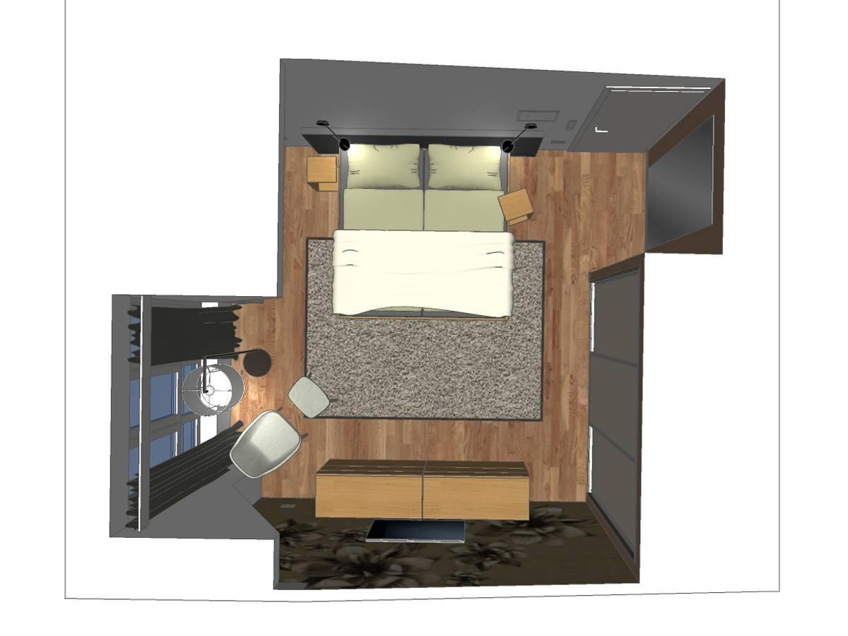 Schlafzimmergestalung eines Dachgeschosses in Draufsicht. Verplante Objekte Massivholzbett, Massivholzbeistelltische, Wandleseleuchten, Auflageteppich, Gardinenanlage mit Verdunklungsschals, Stehleuchte mit Stoffschirm, Massivholzsessel mit Massivholzfußschemel, Massivholzkommoden mit Schubfächern, Schiebetüranlage mit passgenauen Einbauschrank und Motivtapete.