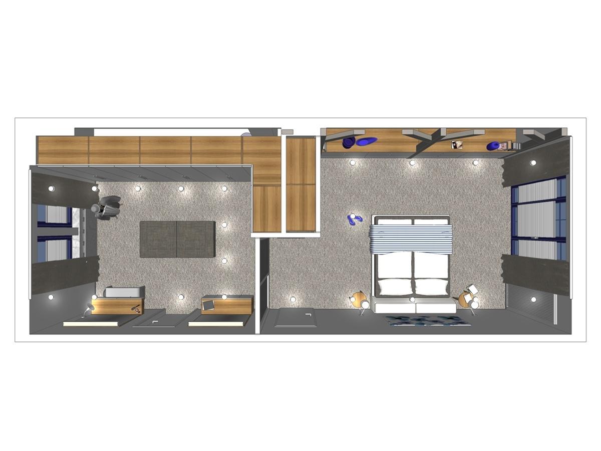 wonderful schlafzimmer plan #2: Schlafzimmerdarstellung eines Mehrfamilienhauses in Draufsicht. Verplante  Objekte im Schlaf- und Ankleidezimmer Hocker, Herrendiener  Schlafzimmerentwurf ...