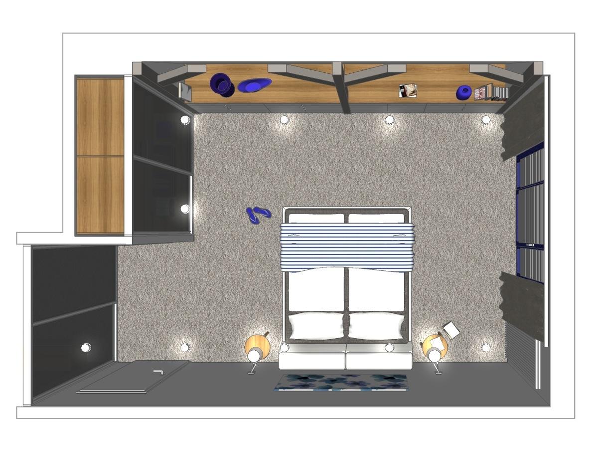 Schlafzimmerentwurf für ein Einfamilienhaus im Erdgeschoss in Draufsicht. Verplante Objekte Schiebetüranlage mit Einbauschrank, maßgefertigte Einbaukommoden, Teppichfußboden, Lederbett, Vollholzbeistelltische, Wandleuchten, Einbaudownlights und Gardinenanlage mit Dekoschals.