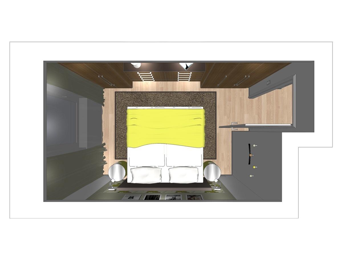Schlafzimmervisualisierung für ein Zweifamilienhaus in Draufsicht. Verplante Objekte Einbauschrank aus Massivholz, Einbaudownlights, Auflageteppich, Rundkommoden, Designerbett, Wandleseleuchten, Kleiderhaken und hochwertige Innentür im Landhausstil.