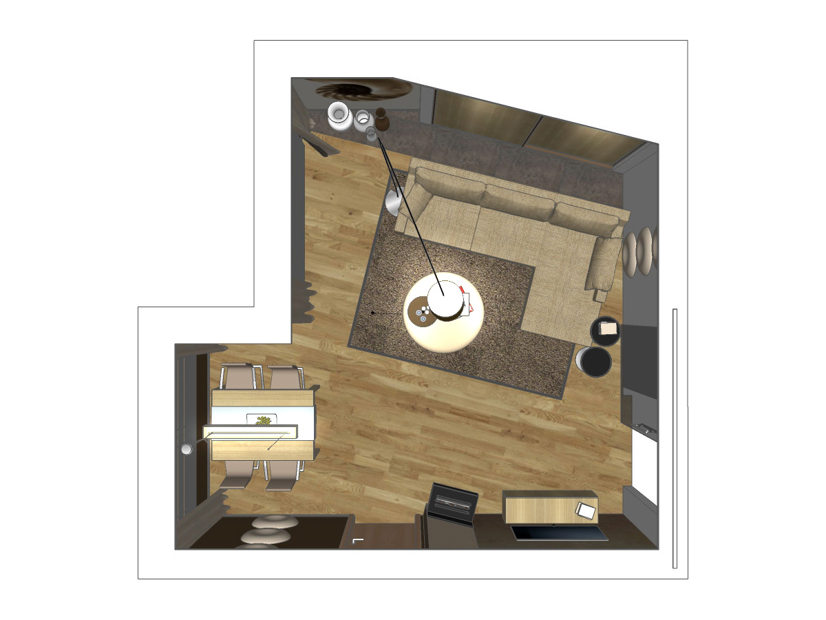 Wohnzimmerentwurf für ein Wohnzimmer im Erdgeschoss in Draufsicht. Verplante Objekte Couch, Couchtisch, Stehleuchte, Schiebetüranlage mit Einbauschrank, Esstisch mit Stühlen, Pendelleuchte, Kamin und Ganzglastüranlage.