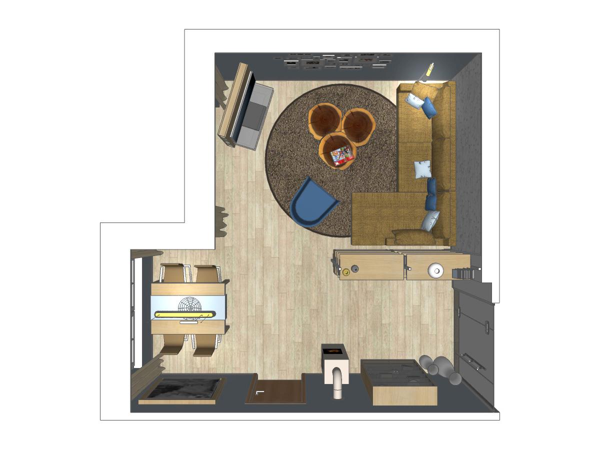Draufsicht einer RAUMAX-Wohnzimmerplanung mit einem Innensystem zur Raumtrennung für ein Wohnzimmer im Zweifamilienhaus