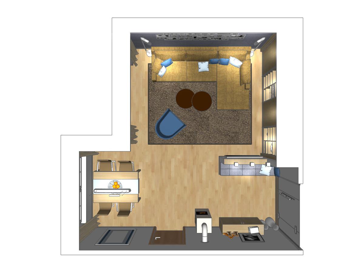Wohnzimmerplanung für ein Wohnzimmer im Zweifamilienhaus mit Sitzniesche, Downlights, Hängesideboard, Kamin, Esstisch mit Stühlen, Pendelleuchte, Couchkombination, Beistelltischen, Teppich, Sessel, Stehleuchten, Gleitschiebetüranlage und Einbauschrank.