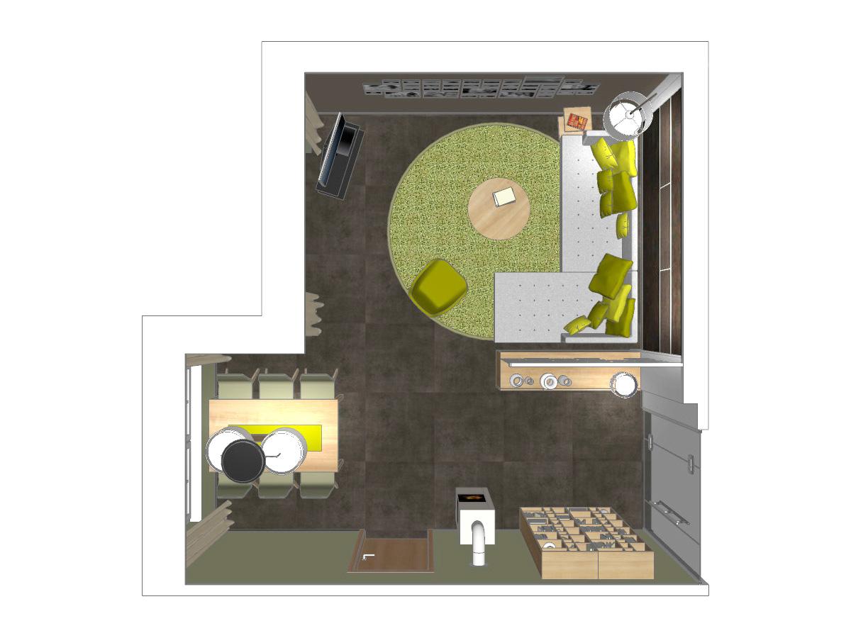 Wohnzimmervisualisierung für ein Wohngeschoß in Draufsicht mit einem Wandregal, Kamin, Esstisch mit Stühlen, Pendelleuchte, Couch, Couchtisch, Sessel, hochflorigen Auflageteppich, TV-Möbel mit Rollen, Couchbeistelltisch, Stehleuchte und Sideboard mit Pendelraumteiler.