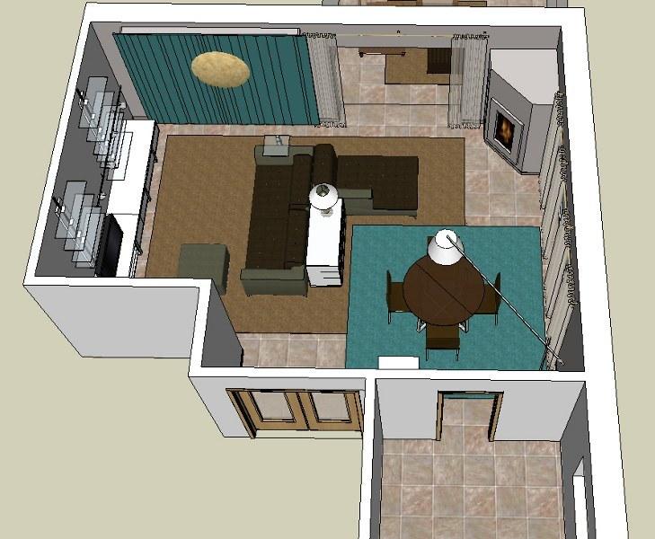 Wohnzimmerplanung in Draufsicht mit einer Couch in L-Form, Kamin, Stehleuchte, hochflorigen Teppich, Beistelltische, Chaiselounge mit Beistelltisch und Stehleuchte, runden Esstisch, vier Stühle, Pendelleuchte mit 3 Stoffschirmen und ein Einbauregal.