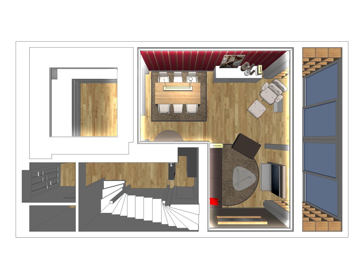 Wohnzimmergestaltung eines Reihenhauses in Draufsicht. Verplante Objekte Esstisch mit 6 Lederstühlen, Pendelleuchte mit Stoffschirm, Sideboard, Tischleuchte, Einbauregalen, TV-Konsole, Couch mit Hocker und Glasbeistelltisch, Stehleuchte und kreisrunden Teppich.