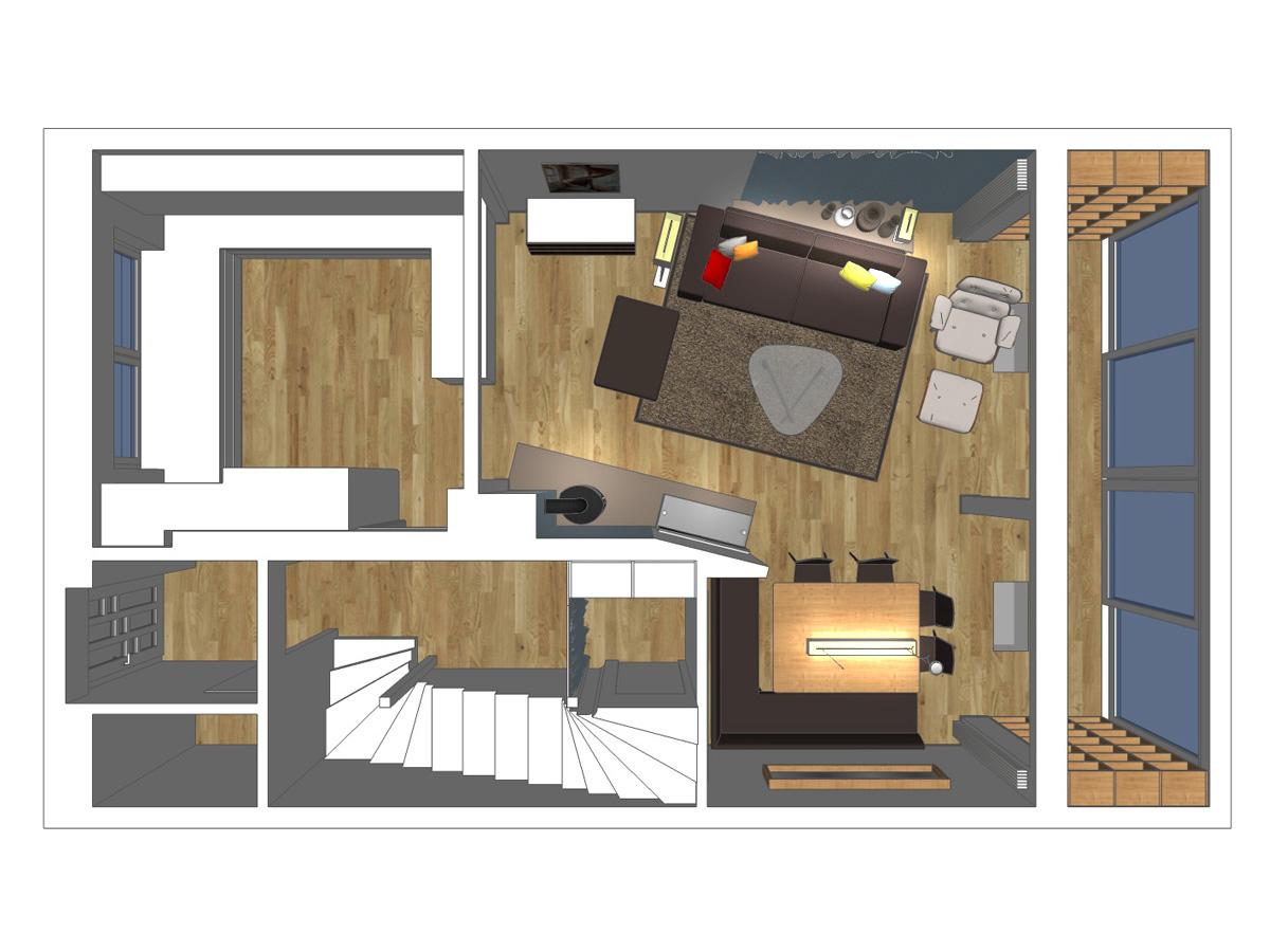 Wohnzimmerentwurf für ein Wohnzimmer im Reihenhaus in Draufsicht. Verplante Objekte Couch, Sideboard, Sessel, Stehleuchte, Glascouchtisch, Sessel mit Fußschemel, Einbauregale, Esstisch mit vier Stühlen und eine Sitzbank über Eck, TV-Wandboard und Kamin.