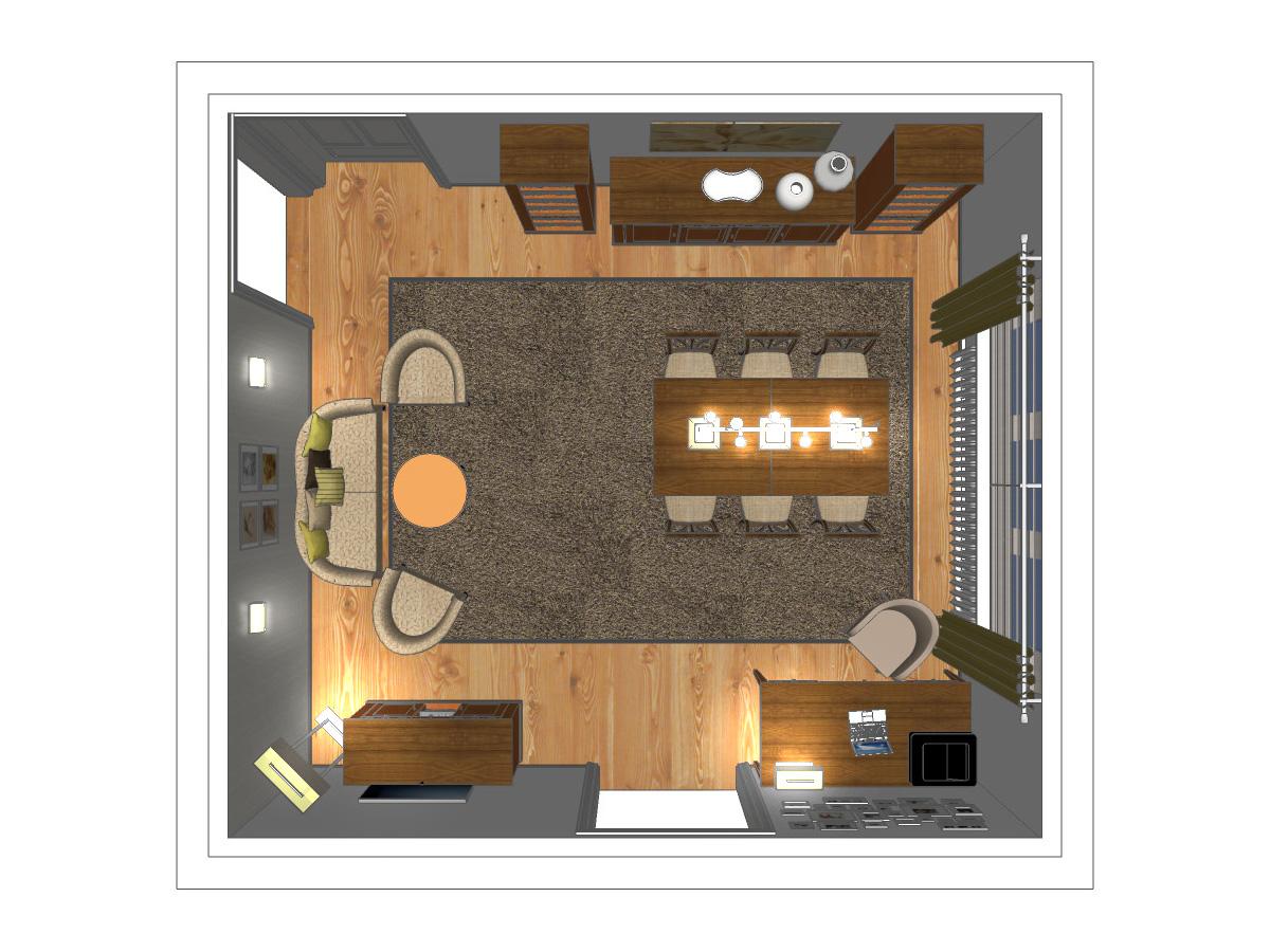 Wohnzimmervisualisierung für ein Wohnzimmer in Draufsicht. Verplante Objekte Massivholzschreibtisch mit drehbarem Sessel, Esstisch mit sechs Stühlen, zwei offene Massivholzregale, eine Massivholzkommode, Couchkombination mit zwei Sesseln, Beistelltisch und einer TV-Massivholzkommode.
