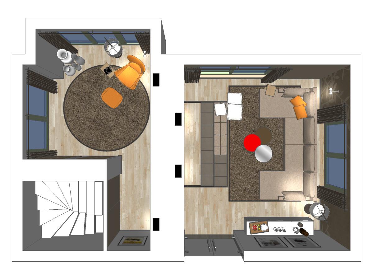 Draufsicht einer Wohnzimmerdarstellung für ein Mehrfamilienhaus mit Vinylbodenbelag, Auflageteppiche, Couchkombination, Beistelltische, zwei Stehleuchte, wandhängendes Sideboard, Sessel mit Fußschemel und Beistelltisch, Gardinenanlagen und Dekoschals.