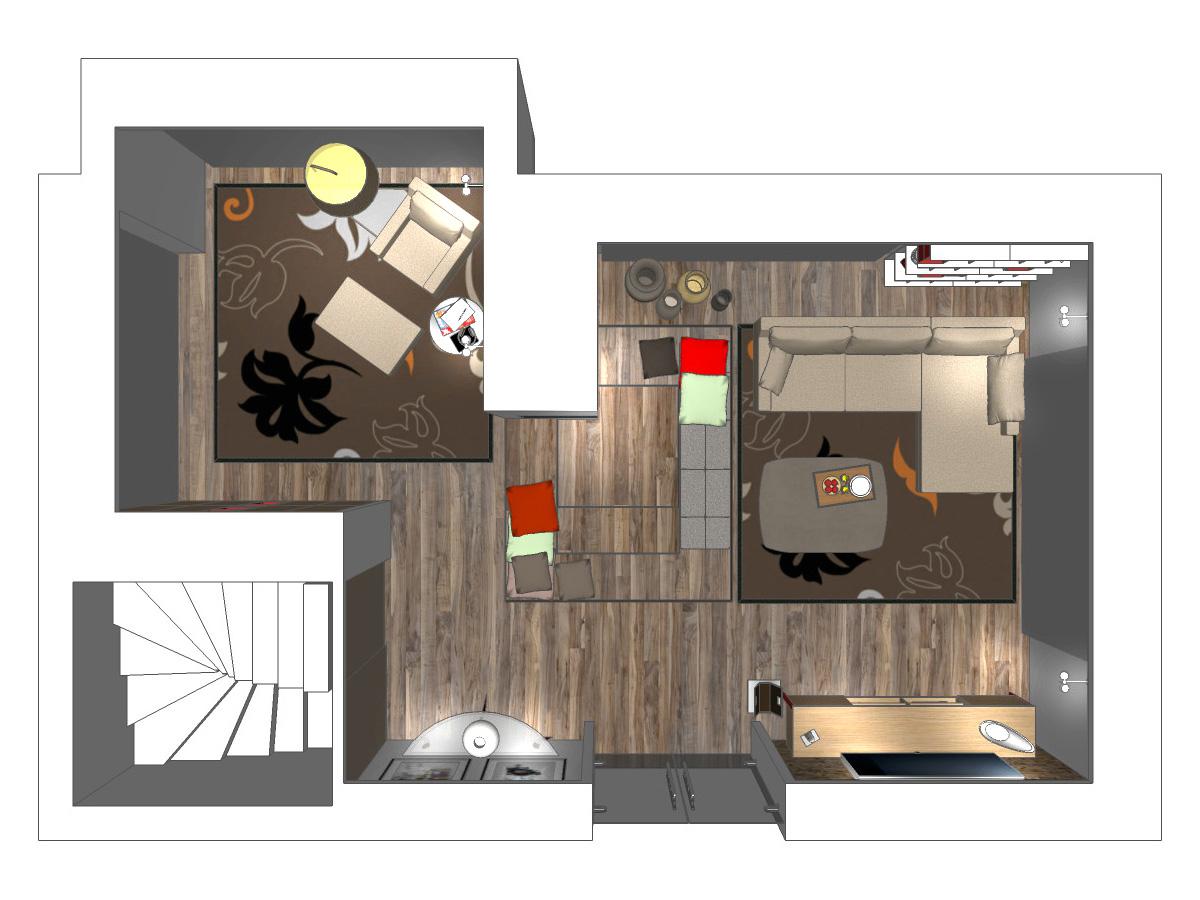 Draufsicht einer Wohnzimmerplanung im Erdgeschoss eines Einfamilienhauses. Verplante Objekte Sessel mit großzügigem Hocker, Stehleuchte, Beistelltisch und Teppich mit Blumenmuster, Couch inkl. Chaiselounge, Couchtisch, Sitzpolster für Treppenauflage, Sideboard und Bücherregale