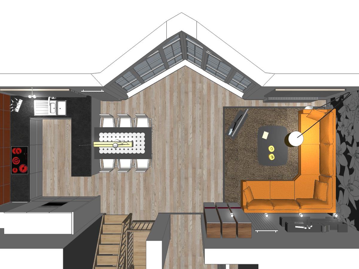 Draufsicht einer Wohnzimmergestaltung mit einer offenen Wohnküche. Verplante Objekte Esstisch mit sechs Stühlen in Lederoptik, hochflorigen Auflageteppich, L-Form Couchkombination, Couchtisch, freistehendes TV-Center, Hängeschrönke und Design-Regale.