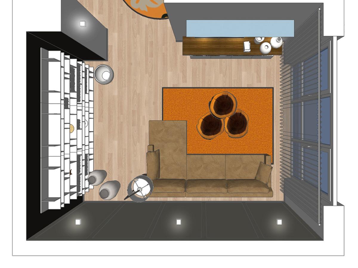 Wohnzimmervisualisierung für ein Wohnzimmer im Loft in Draufsicht mit orange farbigen Auflageteppich, Couchtische aus Nussbaumschnitt, Couch, Stehleuchte mit Stoffschirm, Wandboard mit Glasauflage, TV-Sideboard, Design-Regal-Kombination und Wandleuchten.