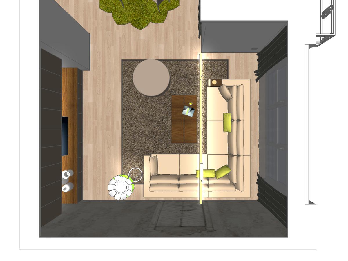 3D Draufsicht für eine Wohnzimmerdarstellung für eine Eigentumswohnung mit maßgefertigten Hängeschränken und Lowboard, Auflageteppich, runden Hocker, Holzcouchtisch, Ledercouch, blumenförmige Stehleuchte, indirekte Deckenleuchte, Gardinenanlage und Dekoschals.