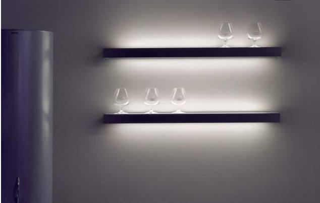 Lichtplanung, beleuchtete Regale