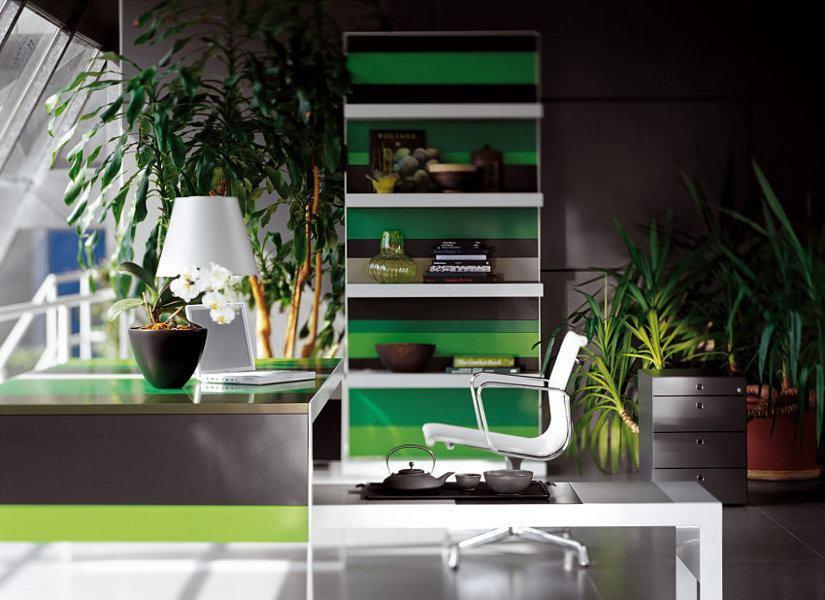 Viel Grün für eine beruhigende Atmosphäre. Perfekt für alle die Wichtiges zu entscheiden haben.