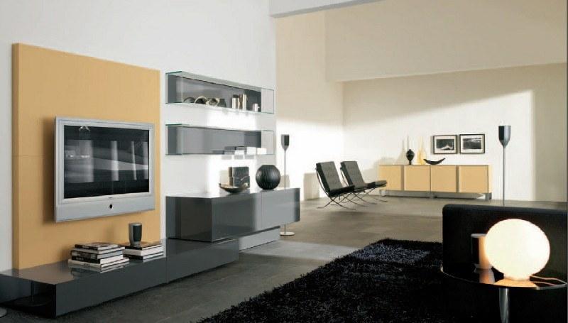 Möbel mit lackierten Glasfronten dominieren in diesem Designer-Wohnzimmer