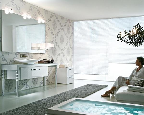 Ein wunderschöner Waschtisch mit romantischen Details. Ein Designbadmöbel in klarem Weiß.