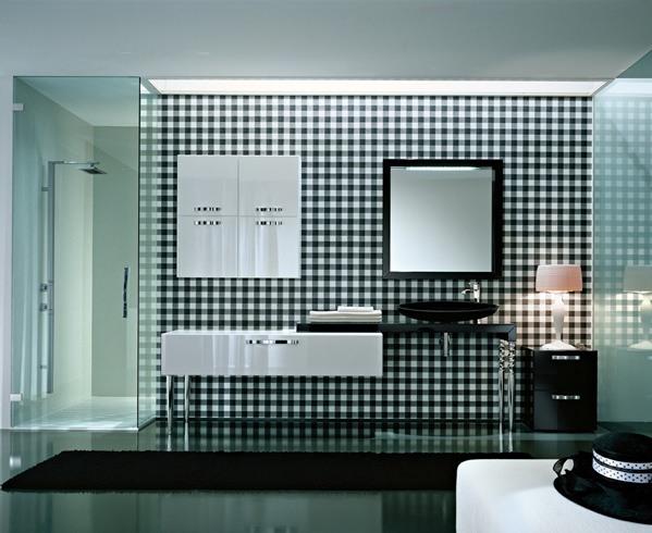 Hier sehen Sie eine hübsche Designbadmöbel-Kombination in Schwarz / Weiß, mit hochglanzverchromten, gedrechselten Füßen.