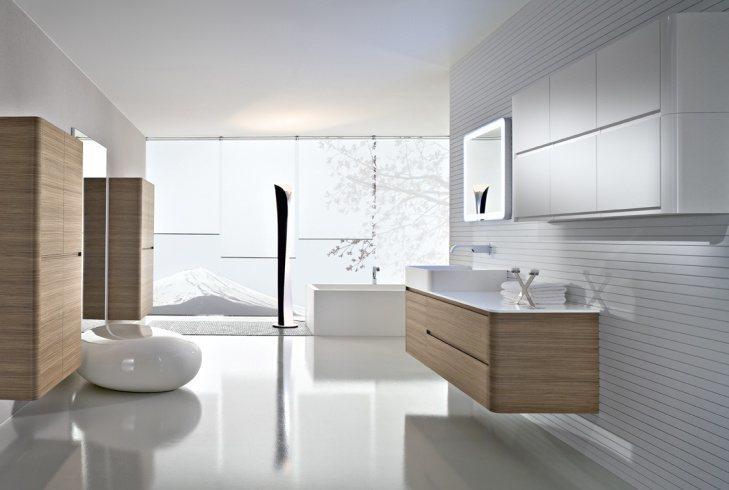 Schlichte Eleganz. Sehr schöner Waschbeckenunterschrank mit passendem Hängeschrank in Nussbaum.