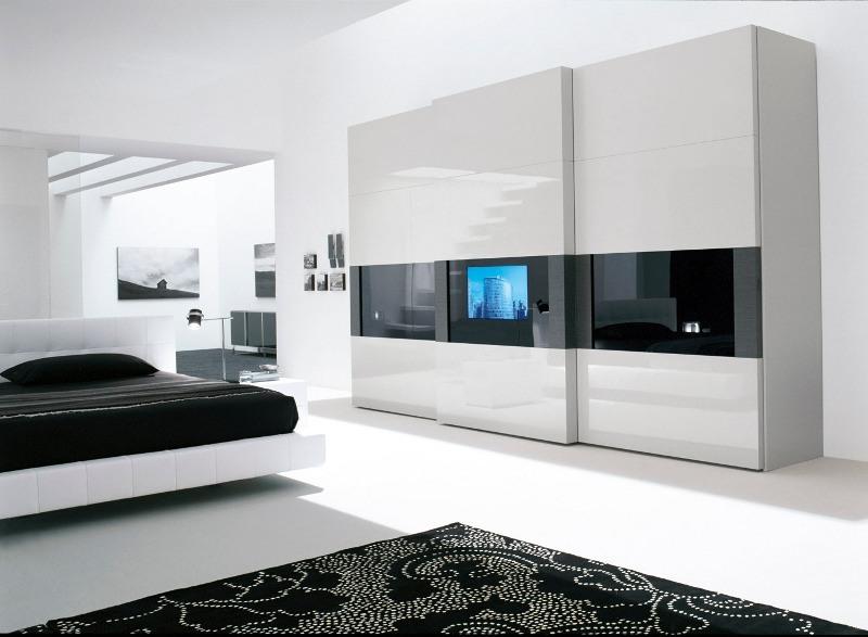 ein luxus schlafzimmer ausgestattet mit einem hochglanzlackierten designkleiderschrank - Schlafzimmer Luxus
