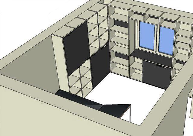 Arbeitszimmer-Planung mit Bücherregalen