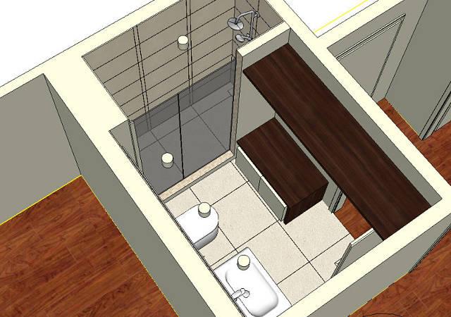 Badezimmerplanung mit Möbeln und begehbarer Dusche
