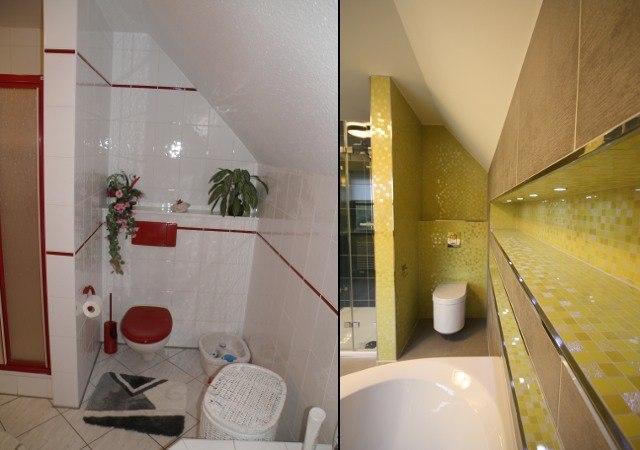 Der Blick zur Toilette. Das neue Designbad bietet nun viel Ablagefläche mit integrierten Downlights.