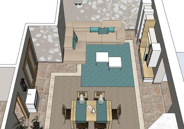 Die Draufsicht der Planung zeigt die Anordnung der Möblierung und alle weiteren Elemente im Detail.